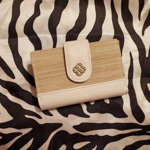Vera Wang white and burlap wallet
